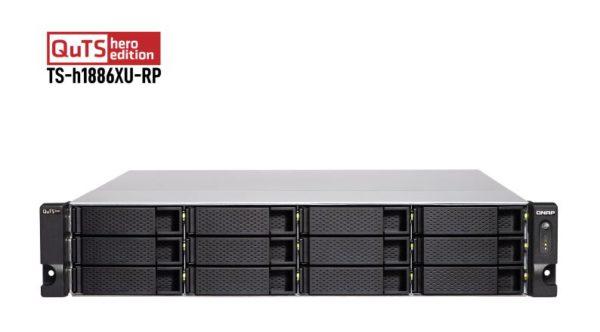 QNAP TS-h1886XU-RP-D1622-32GB 18 Bay NAS Intel® Xeon® D-1622 quad-core 2.60 GHz 32GB DDR4 ECC Hot-swappable 4x4GigaLan 2x10GbE 4xPCIe 2xUSB3.2 3YR WTY