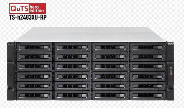 QNAP TS-h2483XU-RP-E2236-128G 24 Bay NAS Intel® Xeon® E-2236 6-core 3.4 GHz 128G DDR4 ECC Hot-swappable 4x1GbE RJ45 2x10GbE SFP+ SmartNIC 2x10GBASE-T