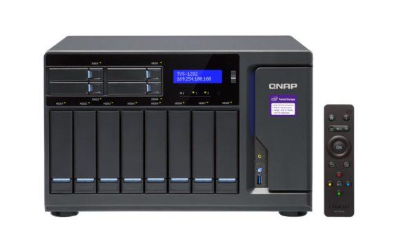 QNAP TVS-1282T3-i7-64G 12 Bay Intel® Core™ i7-7700 quad-core 3.6 GHz 64GB UDIMM DDR4 2 SATA 6Gb/s Hot-swappable 4xGE 2x10GBASE-T 3xPCIe 5xUSB 3.2 2yr