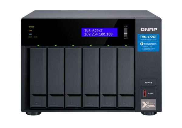 QNAP TVS-672XT-I3-8G 6 Bay NAS ntel® Core™ i3-8100T 4-core 3.1 GHz 8GB DDR4 Hot-swappable 2xM.2 2280 PCIe 2xGbE 1x10GBase-T 2xThunderbolt 3 1x3.2USB