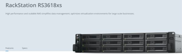 Synology RackStation RS3618xs 12-Bay 3.5' Diskless 4xGbE NAS (2U Rack)