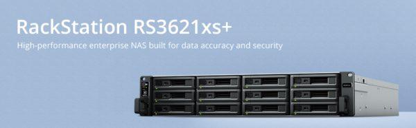 Synology RackStation RS3621xs+ 12 Bay Intel Xeon D-1541 8G DDR4 4xGbE 2x10GbE 2 x Gen3 x8 slots 2xUSB3.2 2U 5YR WTY