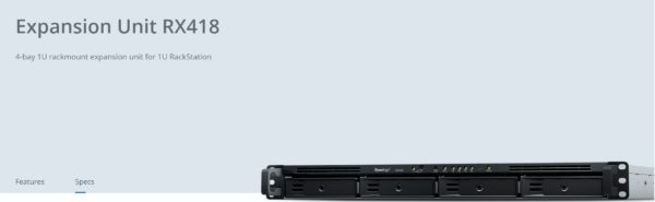 Synology Expansion Unit RX418 4-Bay 3.5' Diskless NAS (1U Rack) for Scalable Models (SMB)