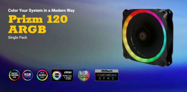 Antec Prizm 120mm ARGB PWM Fan V2 Dual-Ring Hydraulic Bearing