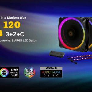 Antec Prizm 120mm ARGB Fan 3+2+C 3x RGB Dual Ring PWM FAN