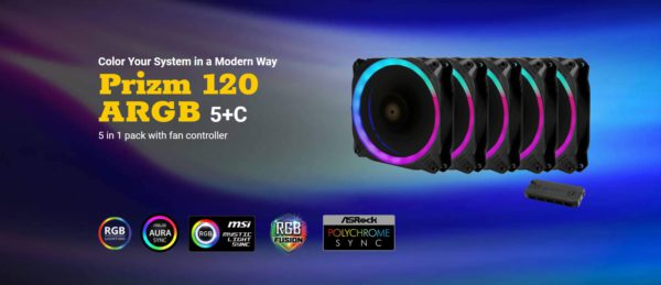 Antec Prizm 120mm ARGB Fan. 5+C 5 in 1 Pack with 5x 12CM RGB Dual Ring PWM Fans and 1x Fan Controller. 2 Years Warranty