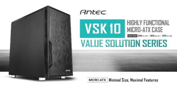 Antec VSK10 mATX Case. 2x USB 3.0 Thermally Advanced Builder's Case. 1x 120mm Fan preinstalled. Two Years Warranty