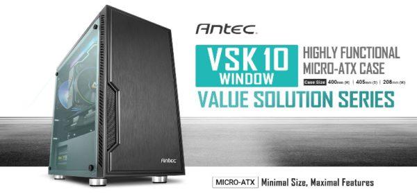 Antec VSK10 Window mATX Case. 2x USB 3.0 Thermally Advanced Builder's Case. 1x 120mm Fan preinstalled. Two Years Warranty