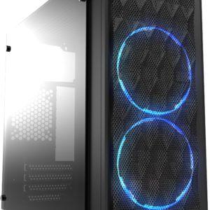 Casecom CMC-72 Micro ATX Tower Side Transparent Temper glass 2x12CM Blue LED FANs