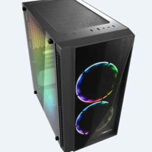 Casecom Gamming XM-91 Front & Side Transparent Temper glass Micro ATX with no PSU-has 2x 12CM 6 colours Single ring  LED fans