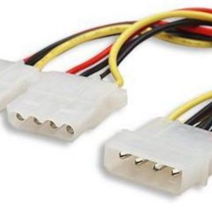8ware Internal Power Molex Cable 20cm - 5.25' 4 pins Male to 2x 5.25' 4 pins Female 18AWG RoHS