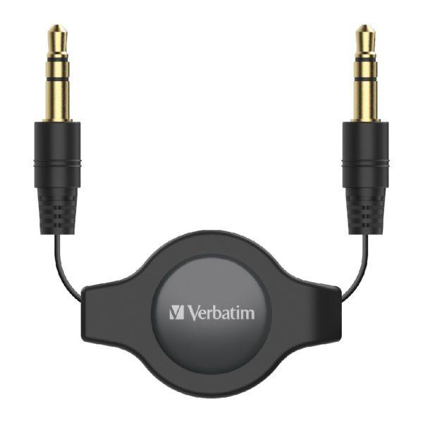 Verbatim 3.5mm Aux Audio Cable Retractable 75cm - Black