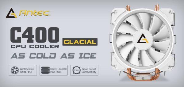 Antec C400 GLACIAL White Air CPU Cooler 12CM PWM 77 CFM Fan