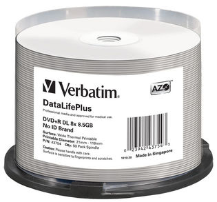 Verbatim DVD+R Doubel Layer  8.5GB Capacity/ Speed 50 Pack Spindle  Wide Thermal Print 8X