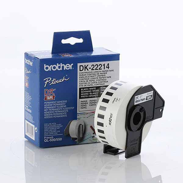 Brother White Paper Roll 12mm x 30.48. DK-22214. For use with QL-500