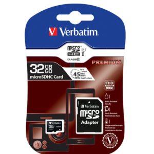 Verbatim 32GB MicroSD SDHC SDXC Class10 UHS-I Memory Card 45MB/s Read 10MB/s Write 300X Read Speed with standard SD adaptor