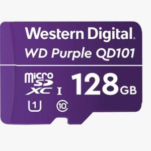 Western Digital WD Purple 128GB MicroSDXC Card 24/7 -25°C to 85°C Weather Humidity Resistant for Surveillance IP Cameras mDVRs NVR Dash