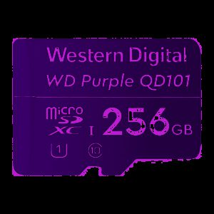 Western Digital WD Purple 256GB MicroSDXC Card 24/7 -25°C to 85°C Weather & Humidity Resistant for Surveillance IP Cameras mDVRs NVR Dash Cams Drones