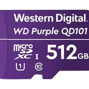 Western Digital WD Purple 512GB MicroSDXC Card 24/7 -25°C to 85°C Weather & Humidity Resistant for Surveillance IP Cameras mDVRs NVR Dash Cams Drones