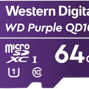 Western Digital WD Purple 64GB MicroSDXC Card 24/7 -25°C to 85°C Weather & Humidity Resistant for Surveillance IP Cameras mDVRs NVR Dash Cams Drones