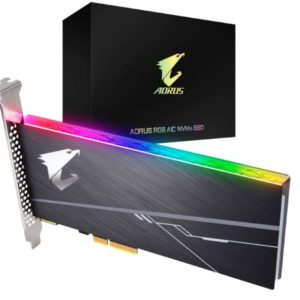 Gigabyte AORUS AIC PCIe x4 NVMe SSD 512GB - 3480/2100 MB/s 360/510K IOPS 3D TLC ToshiBa BiCS3 800TBW 512MB 1.8 Mil MTBF RGB 5yrs