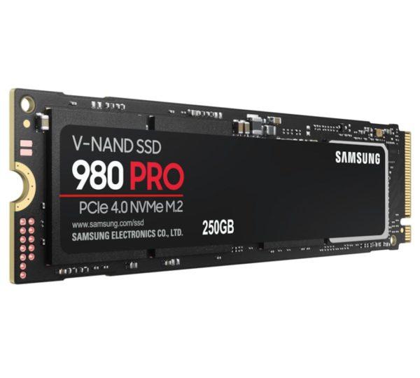 Samsung 980 Pro 250GB NVMe SSD 6400MB/s 2700MB/s R/W 1000K/1000K IOPS 150TBW 1.5M Hrs MTBF M.2 2280 PCIe 4.0 Gen4 3-bit MLC V-NAND 5yrs Wty