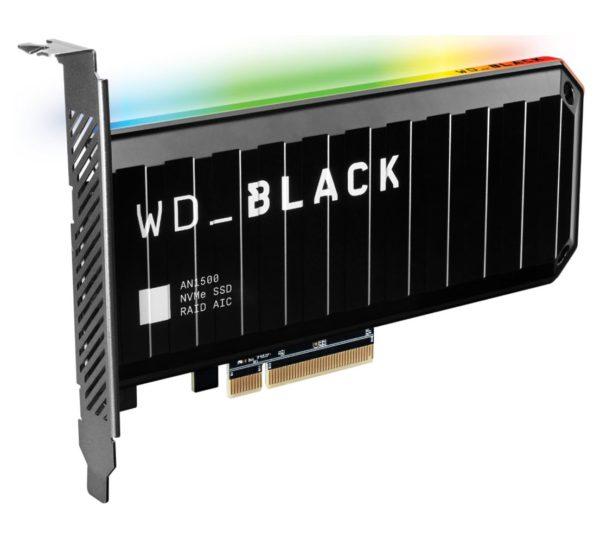 Western Digital WD Black AN1500 1TB RGB NVMe SSD AIC - 6500MB/s 4100MB/s R/W 760K/690K IOPS 1.75M Hrs MTBF RAID PCIe3.0 Add-in-Card 3D-NAND 5yrs
