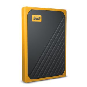 WD My Passport Go 1TB External Portable SSD 400 MB/s USB3.0 Tough Durable Drop Resistant Built-in Cable Amber Yellow for PC Mac 3yrs