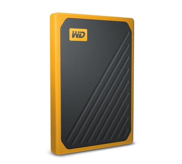 WD My Passport Go 2TB External Portable SSD 400 MB/s USB3.0 Tough Durable Drop Resistant Built-in Cable Amber Yellow for PC Mac 3yrs