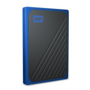 WD My Passport Go 500GB External Portable SSD 400 MB/s USB3.0 Tough Durable Drop Resistant Built-in Cable Cobalt Blue for PC Mac 3yrs
