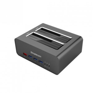 Simplecom SD352 USB 3.0 to Dual SATA Aluminium Docking Station with 3-Port Hub and 1 Port 2.1A USB Charger