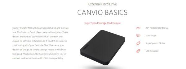 Toshiba 1TB CANVIO® BASICS PORTABLE HARD DRIVE STORAGE. 3 Years Warranty (new HDTB410AK3AA)