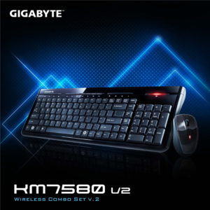 Gigabyte KM7580 V2 USB 2.4GHz Wireless Keyboard & Mouse Combo Spill Resistant 1600DPI Adjustable Portable nano receiver Stylish design comfortable(LS)