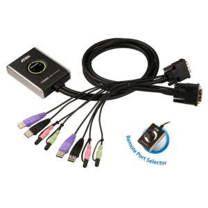 Aten Compact KVM Switch 2 Port Single Display DVI w/ audio
