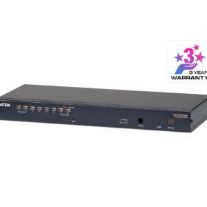 Aten Rackmount KVM Switch 1 Console 8 Port Multi-Interface Cat 5