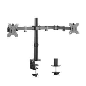 Brateck Dual Screens Economical Double Joint Articulating Steel Monitor Arm Fit Most 13''-32'' Monitors Up to 8kg per screen VESA 75x75/100x10