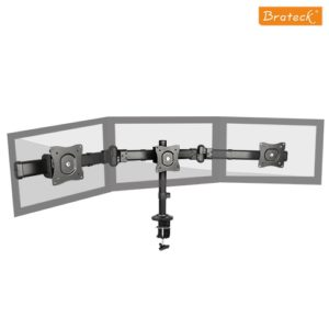 Brateck Triple Monitor Arm Mounts with Desk Clamp VESA 75/100mm Up to 27' Monitors Up to 8kg per screen VESA 75x75/100x100