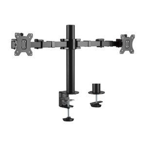 Brateck Dual Monitors Affordable Steel Articulating Monitor Arm Fit Most 17'-32' Monitors Up to 9kg per screen VESA 75x75/100x100