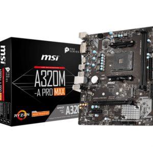 MSI A320M-A PRO MAX AMD mATX Motherboard - AM4 Ryzen 2xDDR4 2xPCI-E 1xM.2  6xUSB3.2 6xUSB2.0 1xDVI-D 1xHDMI
