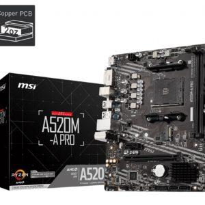 MSI A520M-A PRO AMD mATX Motherboard - AM4 Ryzen 2xDDR4 2xPCIE 1xM.2 1xDVI-D 1xHDMI 6xUSB 3.2 6xUSB2.0