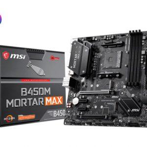 MSI B450M MORTAR MAX AM4 Ryzen M-ATX Motherboard 4xDDR4 5xPCIE 2xM.2 DP HDMI LAN 4xSATAIII 1xUSB-C 8xUSB3.2