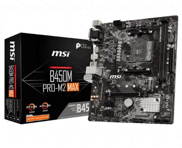 MSI B450M PRO-M2 MAX AMD M-ATX Motherboard AM4 Ryzen 2xDDR4 3xPCIE 1xM.2 6xUSB3.2 6xUSB2.0 1xDVI-D 1xVGA 1xHDMI