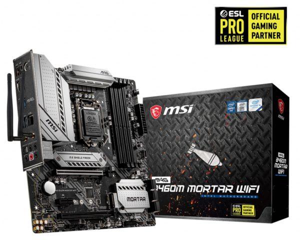MSI B460M MORTAR WIFI LGA 10th Gen mATX MB 4xDDR4 3xPCIE RAID 1xHDMI 1xDP 2xM.2 8xSATAIII 2xUSB3.2 6xUSB2.0