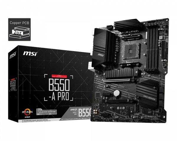 MSI B550-A PRO AM4 ATX MB 4xDDR4  2xPCIE 2xM.2 HDMI DP RAID LAN TPM 6xSATAIII 2xUSB3.2 8xUSB2.0