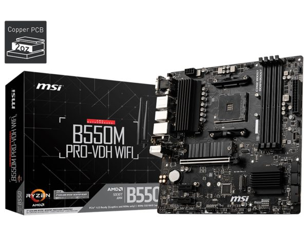 MSI B550M PRO-VDH WIFI AM4 MATX MB 4xDDR4 3xPCIE 2xM.2 HDMI VGA DP RAID LAN 4xSATAIII 5xUSB3.2 6xUSB2.0
