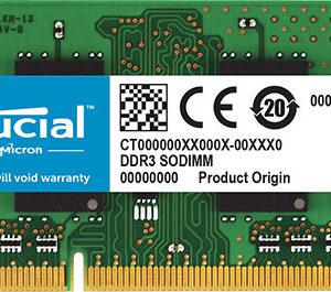 Crucial 4GB (1x4GB) DDR3 SODIMM 1600MHz 1.35V Dual Ranked Single Stick Notebook Laptop Memory RAM