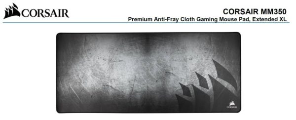 Corsair MM350 Premium Anti-Fray Cloth Gaming Mouse Pad. Extended Extra Large Edition 930mm x 400mm x 5mm. (LS)