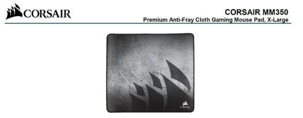 Corsair MM350 Premium Anti-Fray Cloth Gaming Mouse Pad. Extra Large Edition 450mm x 400mm x 5mm (LS)
