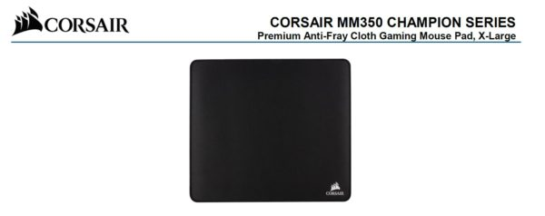 Corsair MM350 Champion Series X-Large Anti-Fray Cloth Gaming Mouse Pad. 450x400mm 2 Years Warranty (LS)