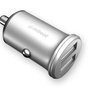 mbeat® Power Dot Pro Dual port 4.8A Rapid Car Charger - 24W/Metallic Design/Fast Charging Mobile Apple iPhone iPad Samsung Galaxy Hauwei HTC Google
